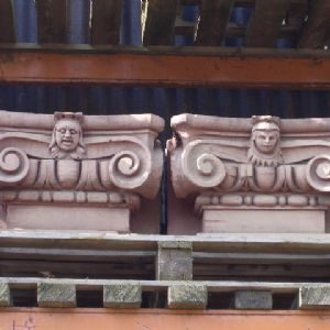 Two Pair Of Carved Sandstone Ionic Order Pilasters Capitals